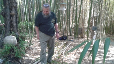 This is my Japanese woodworking instructor, Jay van Arsdale, who gave me bamboo from his yard, and also taught me to how to split bamboo.